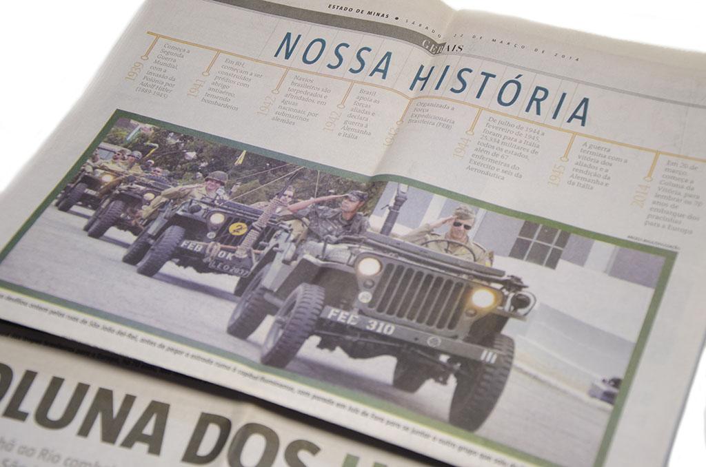 Fotografias no Jornal Estado de Minas, 22 de março de 2014, desfile de homenagens aos pracinhas